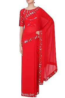 Red Mirror Work Embellished Saree With Blouse by Preeti Reddy