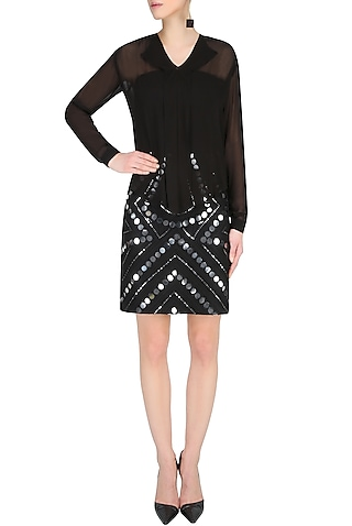Black Layered Full Sleeves Shirt With Black Mirror Work Midi Skirt by Preeti Reddy