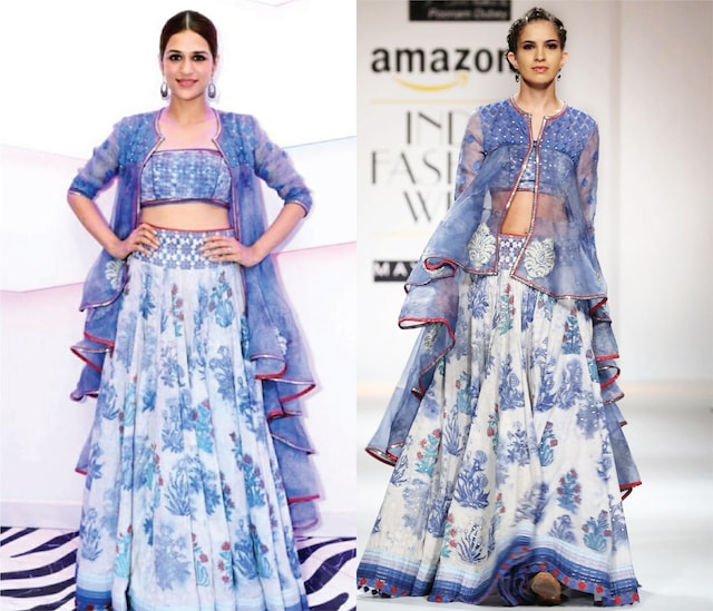 Indigo and White Block Printed Lehenga with Crop Top and Asymmetrical Jacket by Poonam Dubey Designs