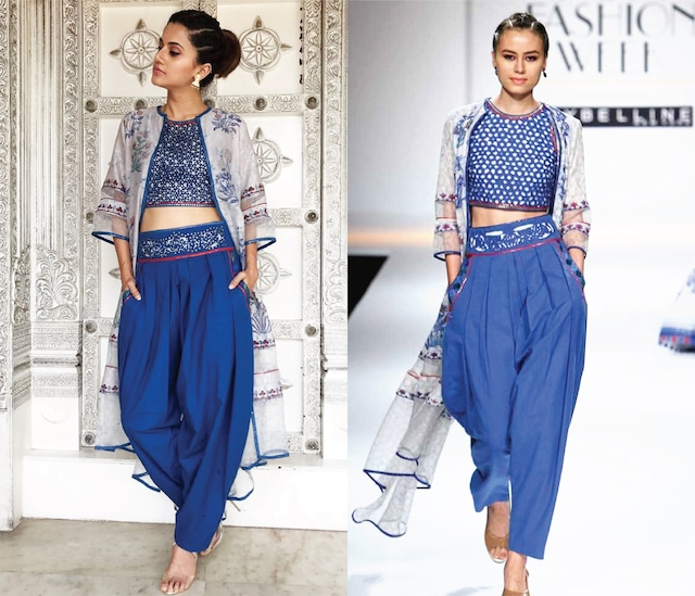 Indigo Block Printed Dhoti Pants with Crop Top and White Asymmetrical Cape by Poonam Dubey Designs