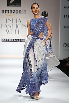 Indigo Block Print Embroidered Crop Top with Drape Pants by Poonam Dubey Designs