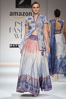 Indigo, Red and White Block Printed Lehenga Skirt with Asymmetrical Jacket by Poonam Dubey Designs