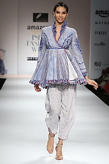 Indigo and White Block Printed Angrakha Tunic with Salwar Pants by Poonam Dubey Designs