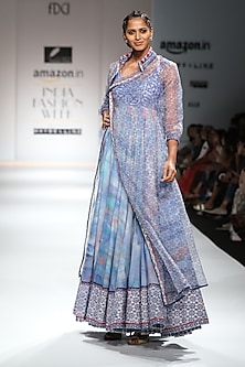 Indigo and White Block Printed Anarkali with Jacket by Poonam Dubey Designs