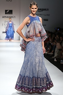 Indigo, Red and White Block Printed Lehenga Skirt with Asymmetrical Top by Poonam Dubey Designs