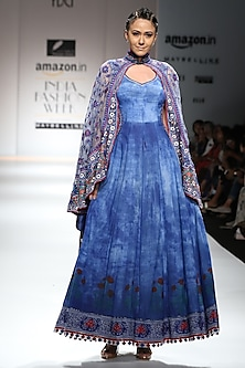 Indigo and Red Block Printed Maxi Dress with Asymmetrical Cape by Poonam Dubey Designs