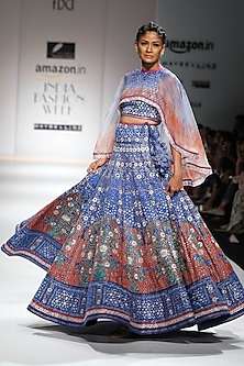 Indigo and Red Block Printed Lehenga with Cape Crop Top by Poonam Dubey Designs