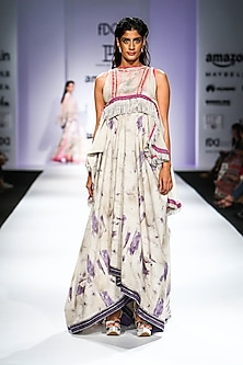 Beige Aysmmetrical Floral Print Maxi Dress by Poonam Dubey Designs