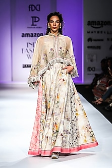 Beige Floral Print Maxi Dress by Poonam Dubey Designs
