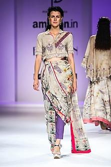 Beige Floral Print Drape Saree Set by Poonam Dubey Designs
