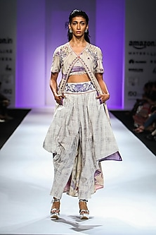 Beige Front Open Floral Print Jacket with Crop Top and Cowl Pants by Poonam Dubey Designs