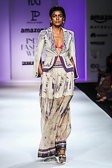Beige and Purple Short Front Open Jacket with Long Pleated Skirt by Poonam Dubey Designs