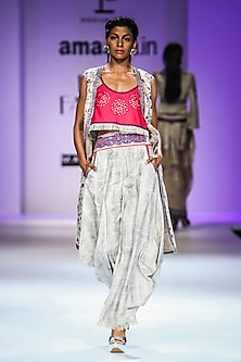 Beige and Hot Pink Floral Print Crop Top with Cape and Dhoti Pants by Poonam Dubey Designs
