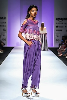 Purple Cold Shoulder Embroidered Top with Dhoti Pants by Poonam Dubey Designs