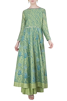 Blue and Green Embroidered Anarkali Gown by Poonam Dubey Designs