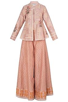 Peach Peplum Jacket with Sharara Pants by Poonam Dubey Designs