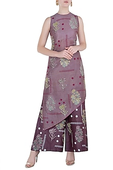 Purple Block Printed Tunic with Pants by Poonam Dubey Designs