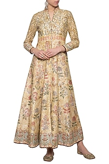 Beige printed front open anarkali gown by Poonam Dubey Designs