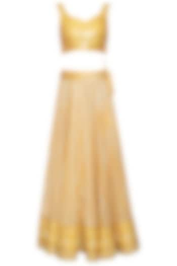 Yellow banarasi lehenga skirt with blouse and cape by Poonam Dubey Designs