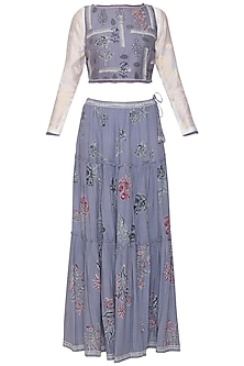 Lavender blue crop top with skirt and inner by Poonam Dubey Designs
