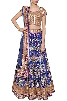 Blue banarasi silk lehenga set by Poonam Dubey Designs