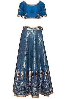 Blue banarasi lehenga set by Poonam Dubey Designs
