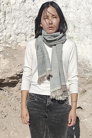 Grey Handwoven Pashmina Scarf by Lena Ladakh Pashmina
