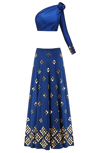 Blue Lasercut Heart Motifs Lehenga and One Shoulder Blouse Set by Papa Don't Preach by Shubhika