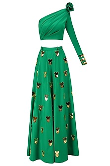 Green and Gold Lasercut Heart Embroidered Motifs Lehenga Set by Papa Don't Preach by Shubhika