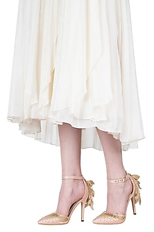 Champagne gold embroidered ruffle stilettos by Papa Don't Preach by Shubhika