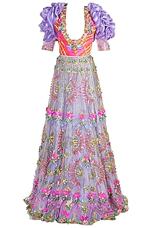 Lilac Embroidered Leheriya Lehenga Set by Papa Don't Preach by Shubhika