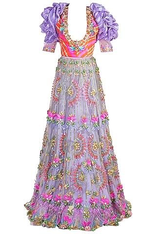 Lilac Embroidered Leheriya Lehenga Set by Papa Don't Preach by Shubhika