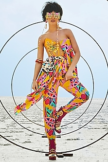 Yellow Embroidered & Printed Corset Dapper Jumpsuit by Papa Don't Preach by Shubhika