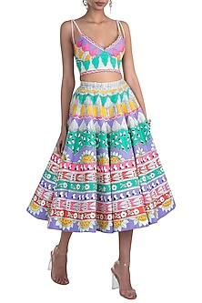Multi Colored Hand Painted Lehenga Set by Papa Don't Preach by Shubhika
