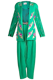 Green Embroidered Jacket & Drape Dhoti Pants by Papa Don't Preach by Shubhika