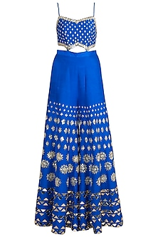 Electric Blue Embroidered Ruffled Jumpsuit With Belt by Papa Don't Preach by Shubhika