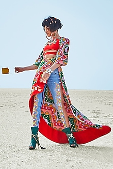 Multi Colored Embroidered Jacket With Crop Top & Denim Pants by Papa Don't Preach by Shubhika