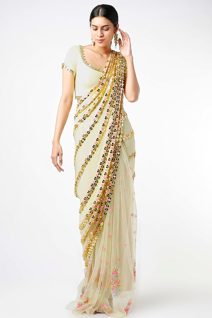 Sunny Yellow Floral Motifs Embroidered Pre-Stitched Saree Set by Papa Don't Preach by Shubhika