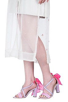 Lilac embroidered block heels by Papa Don't Preach by Shubhika