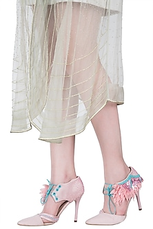 Blush embroidered lace up stilettos by Papa Don't Preach by Shubhika