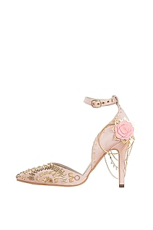 Champagne gold embroidered stilettos by Papa Don't Preach by Shubhika