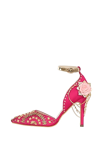 Hot pink embroidered stilettos by Papa Don't Preach by Shubhika