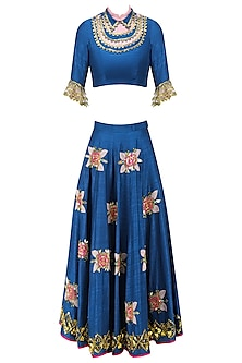 Imperial Blue Embroidered Rose Motifs Half Lehenga and Crop Top Set by Papa Don't Preach by Shubhika