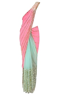 Coral and Mint Green Beads Embroidered Half and Half Saree by Papa Don't Preach by Shubhika