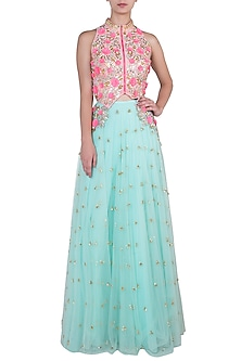 Mint green embroidered lehenga skirt and jacket blouse by PAPA DON'T PREACH BY SHUBHIKA