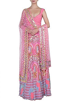 Coral pink embroidered lehenga set by PAPA DON'T PREACH BY SHUBHIKA