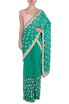 Forest green embroidered saree set by PAPA DON'T PREACH BY SHUBHIKA