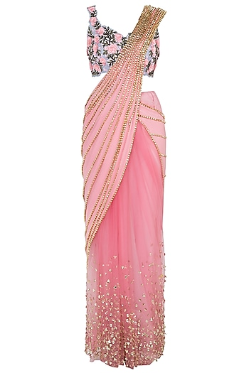 Blush pink embroidered saree set by PAPA DON'T PREACH BY SHUBHIKA