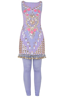 Lilac Embroidered Kurta with Leggings by Papa Don't Preach by Shubhika