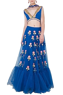 Blue Embroidered Lehenga Set by Papa Don't Preach by Shubhika